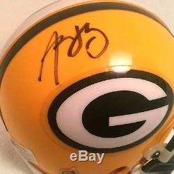 AARON RODGERS SIGNED AUTOGRAPHED GREEN BAY PACKERS MINI HELMET withCOA