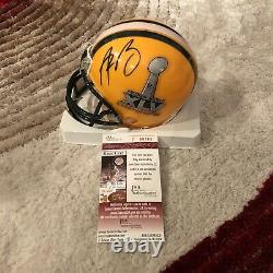 Aaron Rodgers Signed Green Bay Packers Autographed Mini Helmet JSA