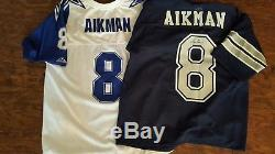 Dallas Cowboys Emmitt Smith and Troy Aikman autographed jerseys and mini helmet