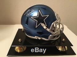 JASON WITTEN COWBOYS SIGNED AUTOGRAPHED BLAZE MINI HELMET WithCOA and display case