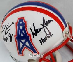 Moon & Campbell Signed Oilers Mini Helmet with HOF- JSA WithBeckett Auth Black