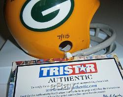 PACKERS Bart Starr signed mini helmet with Ice Bowl 12-31-67 Tristar AUTO Autograp