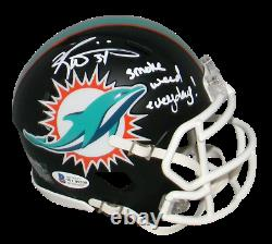 RICKY WILLIAMS SIGNED MIAMI DOLPHINS BLACK MINI HELMET With SMOKE WEED EVERYDAY