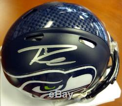Russell Wilson Autographed Seahawks Super Bowl Mini Helmet In Silver Rw 72367