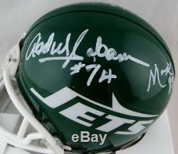 Sack Exchange Autographed New York Jets TB Mini Helmet with Insc- JSA W Auth Wh