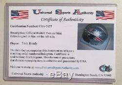 Tom Brady Patriots Signed Early In Career Mini Helmet With Coa And Sp Cards